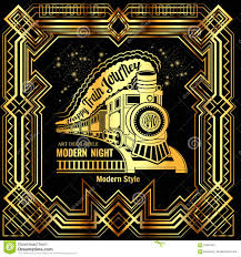 site deco vintage art deco border with gold grid frame on a black background stock