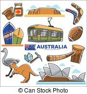 vector illustration of australia symbols on map koala kangaroo