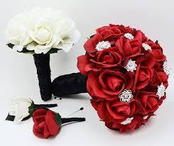 wedding flowers groom rhinestone black white bridesmaid bouquet groom s