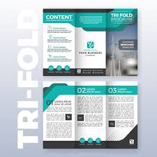 technical brochure template business tri fold brochure template design with turquoise color