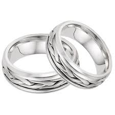 white gold wedding band sets 14k white gold wide braided wedding band set