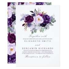 purple wedding invitations floral invitations announcements zazzle