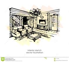 hand drawn interior sketch home design bedroom provence style