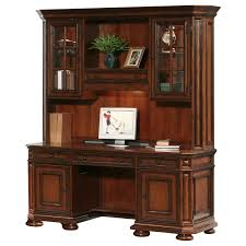 Wood Computer Desk With Hutch by Varnished Brown Wooden Computer Desk With Triple Hutch Under The