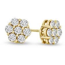 10k earrings 1 2 carat diamond flower cluster earrings in 10k gold ebay
