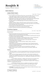 Employment Resume Sample by Subject Matter Expert Resume Samples Visualcv Resume Samples