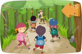 illustration of little kids on a hiking trip royalty free cliparts