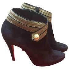 black plain suede christian louboutin ankle boots vestiaire