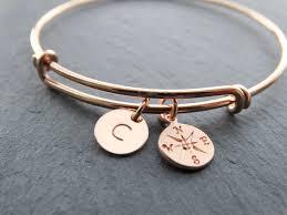 personalized bangle bracelets bangle bracelet with charms gold compass bracelet initial