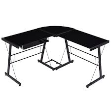 L Shaped Black Glass Desk Walker Edison L Shaped Desk Glass Study Table Blue Glass Top Desk