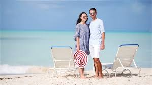 white honeymoon on white during summer vacation enjoy their