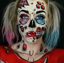 pop art style zombie quinn harley quinn halloween makeup facepaint