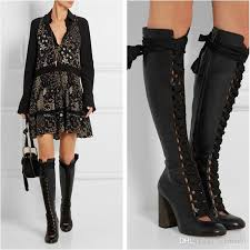 womens boots knee high black hollow out knee high boots lace up botas black leather