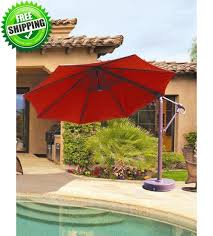 Patio Umbrella With Base 11 Ft Octagon Cantilever Galtech 887 Patio Umbrella Patio