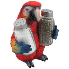 Parrot Decorations Home by Amazon Com Tropical Parrot Glass Salt And Pepper Shaker Set With
