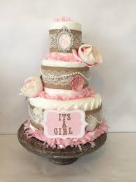 Shabby Chic Baby Shower Cakes by Shabby Chic Vintage Style Boutique Diaper Cake In Burlap And Pink