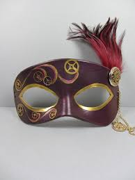 steunk masquerade mask steunk leather masquerade mask in burgundy by maskedzone on