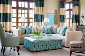 living room drape curtain table lamp blue arm sofa beige leather