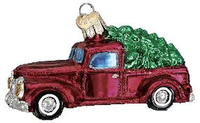world ornaments truck with tree glass ornament 46029