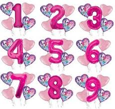 my pony balloons set of 5 bouquet my pony balloons 34 number balloon pink ebay