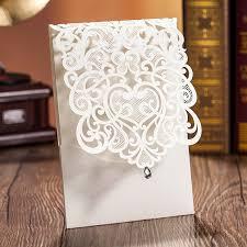 laser cut invitations 100pcs white gold paper wedding invitations envelope laser cut