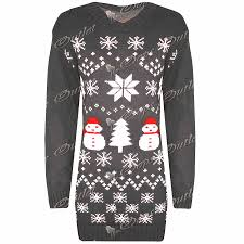 womens snowman tree knitted dress sweater