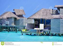 tropical island in laamu atoll natural over water house editorial