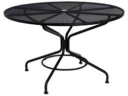 woodard mesh wrought iron 48 round table with umbrella hole in