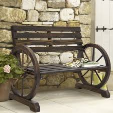 Furniture Choice Bcp Patio Garden Wooden Wagon Wheel Bench Rustic Wood Design