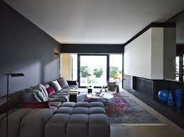 Apartment  Magnificient Brown Couch And Gray Wall Paint Color - Living room apartment design