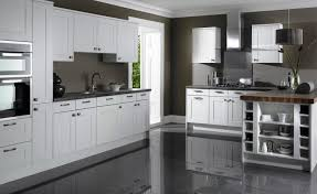 kitchen design black laminate floor white and gray modern stylish