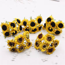 popular plastic sunflowers buy cheap plastic sunflowers lots from new 30 pieces batch simulation yellow sunflower artificial plastic silk home wedding decoration craft party