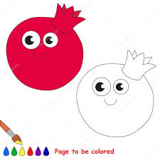 funny colors funny pomegranate cartoon page to be colored stock vector