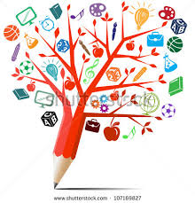 apple tree pencil back school stock vector 107169827