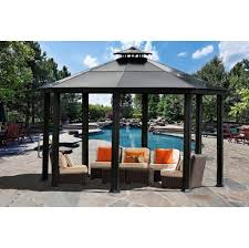outdoors inspiring deck gazebo design with metal roof and gray