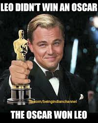 Leo Oscar Meme - quite an eventful oscar leo won best actor and piggy chops debuts