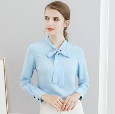 womens blouses for work chiffon bow blouse shirt blue work blouses tops