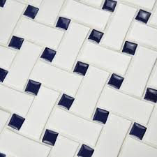somertile 10 5x10 5 inch basket weave white and cobalt