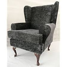 Chenille Armchair Grey Chenille Queen Anne Design Wing Back Fireside High Back Chair