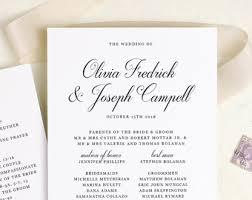 sided wedding program template sided program etsy