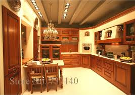 Teak Kitchen Cabinets Teak Wood Kitchen Cabinet Foshan Furniture Factory High Quality