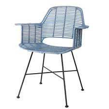 scandi style rattan tub dining chair in industrial blue dining chair