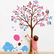 elephants wall stickers tree with baby elephants and balloons wall sticker decorative accessories
