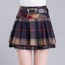 pleated skirt korean winter grid pleated skirt sd01696 kawaii