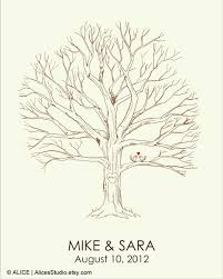 Wedding Tree Canvas Wedding Tree Guest Book U2013 Hand Drawn Fingerprint Tree Print