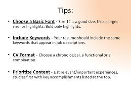 Good Font Size For Resume Writing A C V Resume English 214 What Is A C V Or Resume