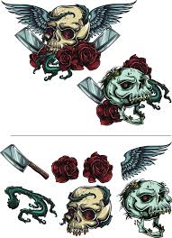 skulls with roses vector free