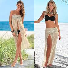 women sleeveless beach dress mesh hollow floatsuit crochet lace