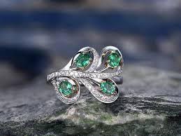 0 58 carat natural emerald wedding ring 14k white gold diamond