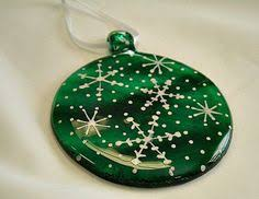 white tree ornament fused glass glass